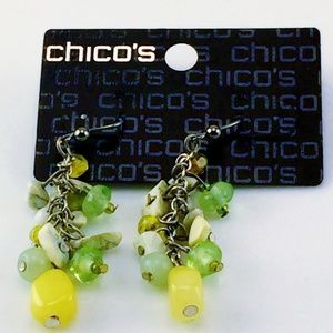 CHICOS EARRINGS GEMSTONE YELLOW GREEN NEW SILVER